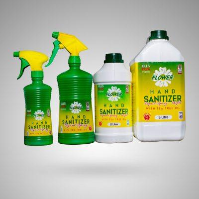 Sanitizer Liquid On Grey Bg